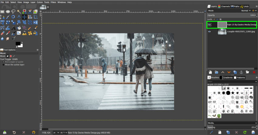 Final Rain Photo Manipulation with Free Overlay GIMP
