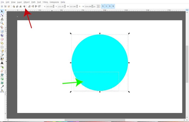 Virar texto colocado em um círculo no Inkscape