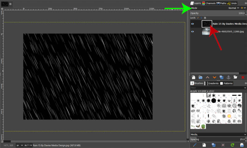 Free Rain Overlay Image Imported as Layer in GIMP
