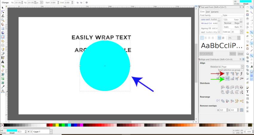 Alinhar horizontal e verticalmente o objeto no Inkscape