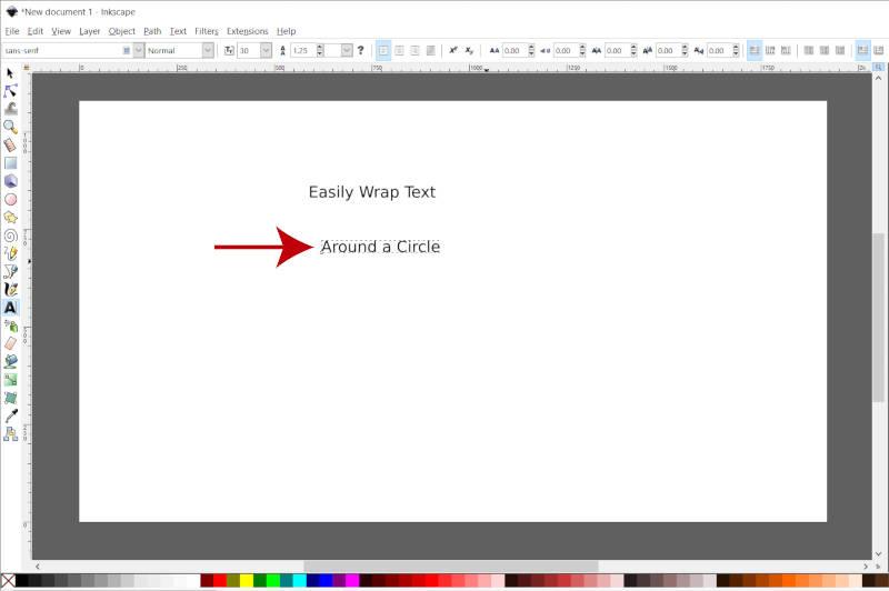 Segunda linha do Inkscape de texto Quebrar texto ao redor do círculo