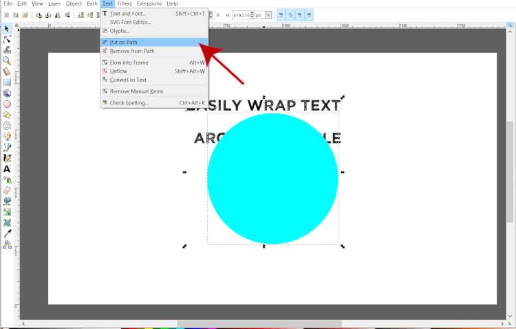 Texto do Inkscape colocado no caminho