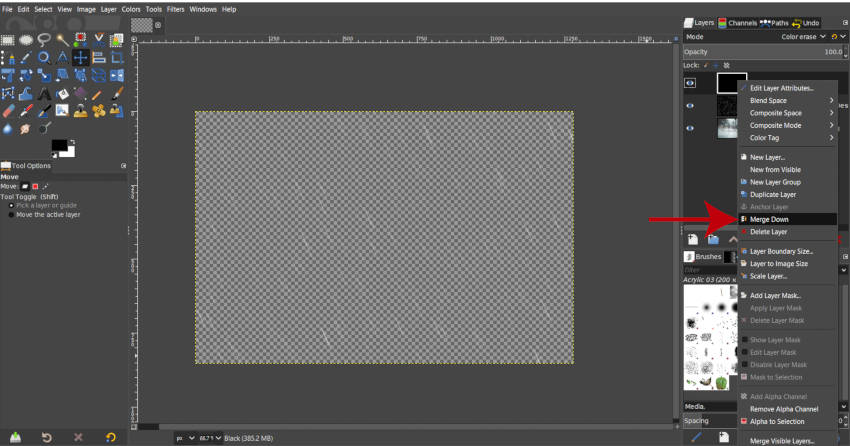 Merge Black with Rain Image Layer GIMP tutorial