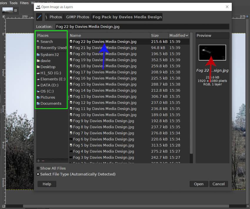 Nyissa meg a képet rétegek párbeszédként, a GIMP Fog csomagban