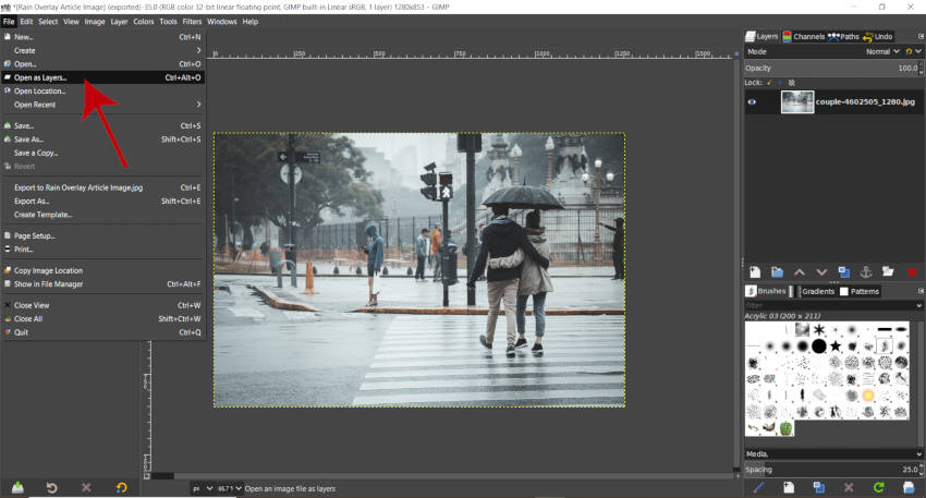 Open as Layers GIMP Rain Pack Download