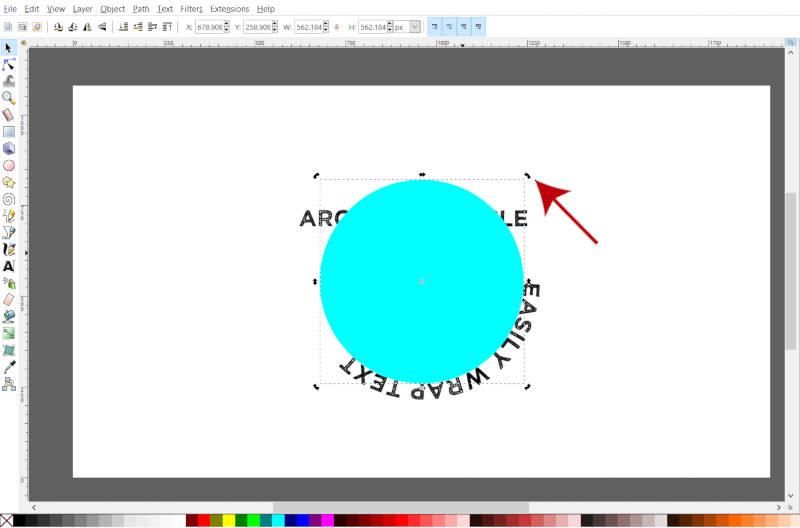 Girar círculo no Inkscape usando alças de transformação