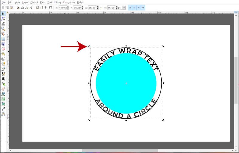 Girar texto em torno de um círculo no Inkscape