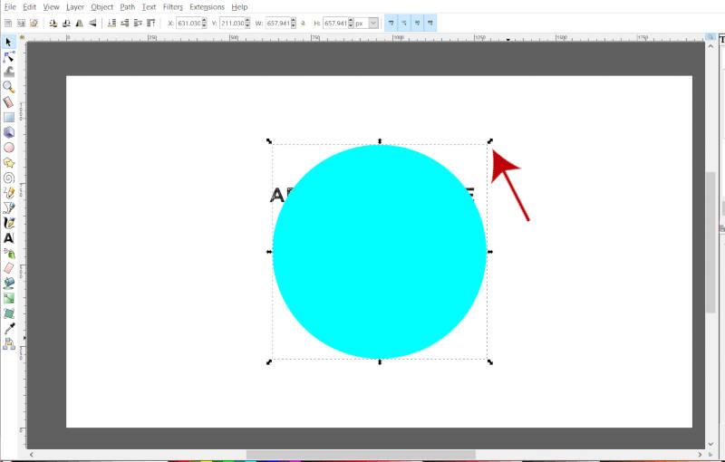 Escalar círculo usando o identificador de transformação no Inkscape