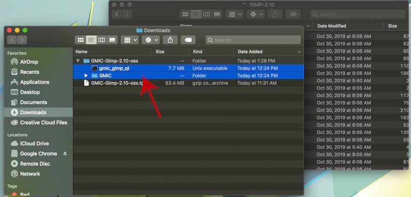 Válassza az összes GMIC plugin fájlt a GIMP számára
