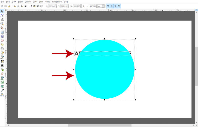 Select Shape and Text Simultaneously in Inkscape