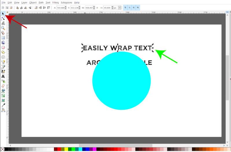 Selecione a linha superior de texto a ser quebrada no Circle Inkscape