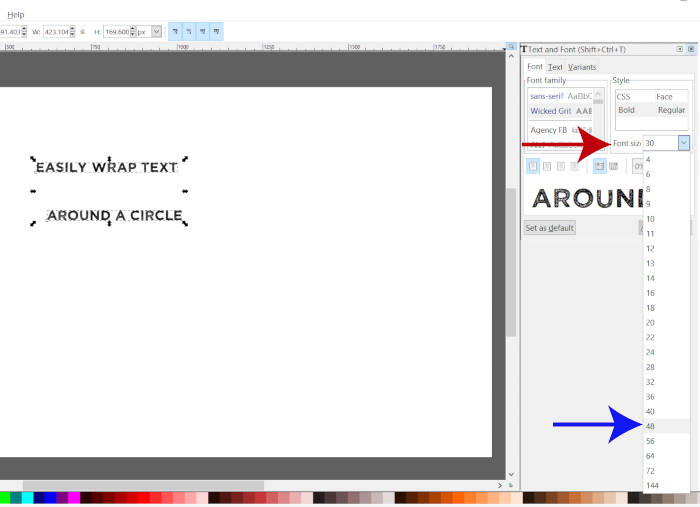 Select a Font Size in Inkscape