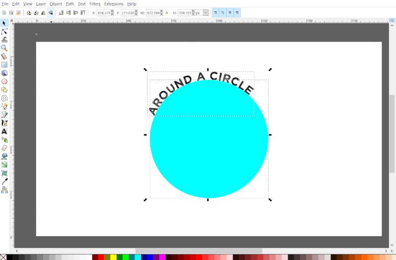 Texto ao redor de um círculo no Inkscape