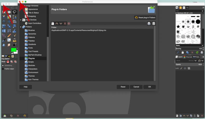 बंद करें और मैक के लिए प्लगइन स्थापित करने के लिए GIMP फिर से खोलें