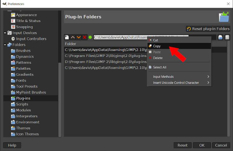 Copy the Plugin Folder File Destination GIMP Tutorial