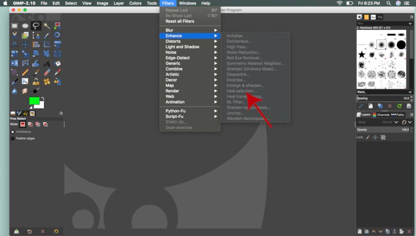 फ़िल्टर मैक के लिए हील सिलेक्शन GIMP को बढ़ाते हैं