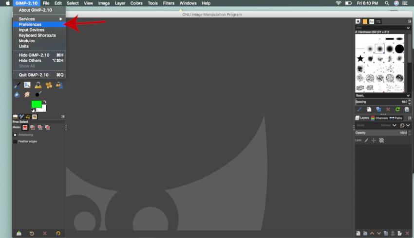 मैक ट्यूटोरियल के लिए GIMP मेनू प्राथमिकताएं GIMP