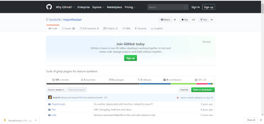 GitHub Resynthesizer Plugin Home Page