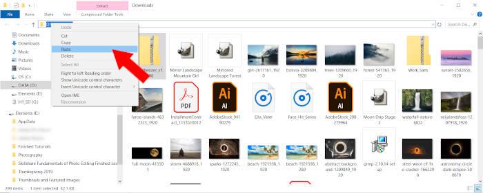 Paste File Destination GIMP Plugin