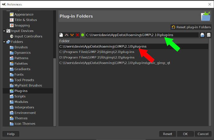 Select Plugin Folder GIMP 2 10 14