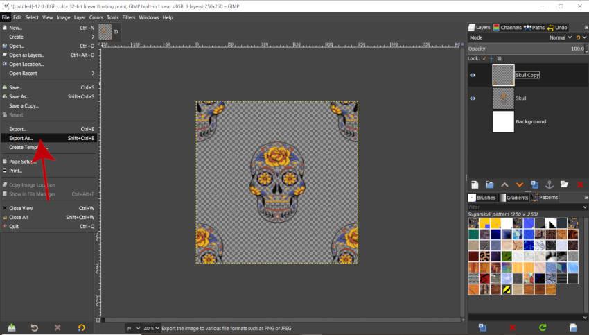 Exportando Patrones en GIMP 2020