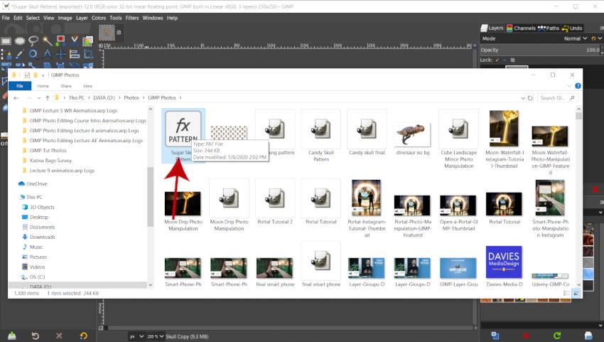 Archivo de patrones GIMP en el Explorador de archivos de Windows