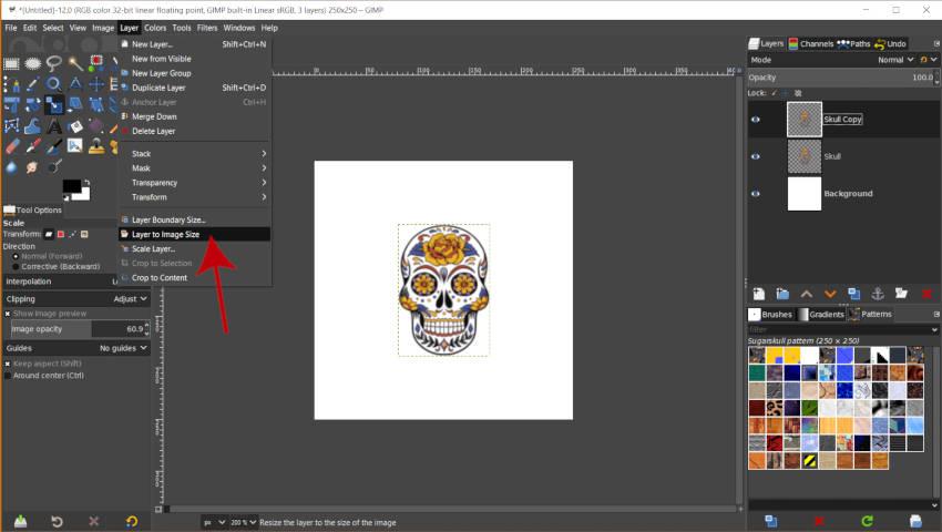 Tamaño de imagen de capa de patrón repetitivo GIMP