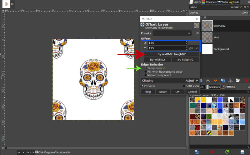 Configuración de herramientas de desplazamiento de patrones GIMP