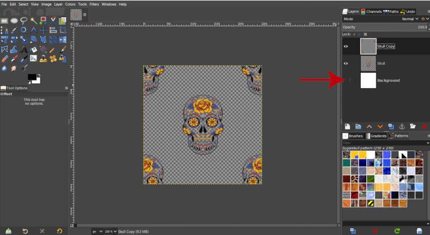 Ocultar patrón personalizado de capa de fondo GIMP