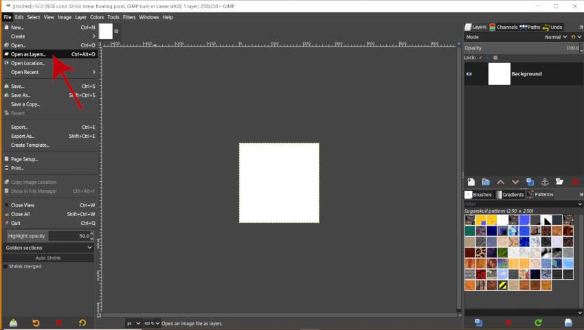 Abrir como capas para abrir el diseño del patrón