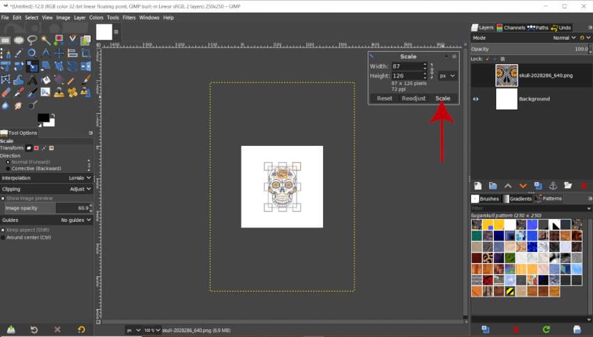 Escale el diseño de su patrón en GIMP 2