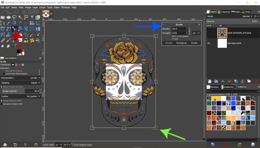 Escale su diseño de patrón en GIMP