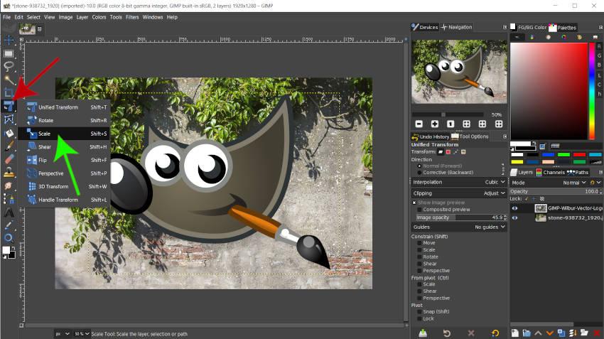 Otevřete nástroj Měřítko v tutoriálu GIMP 2 10 18