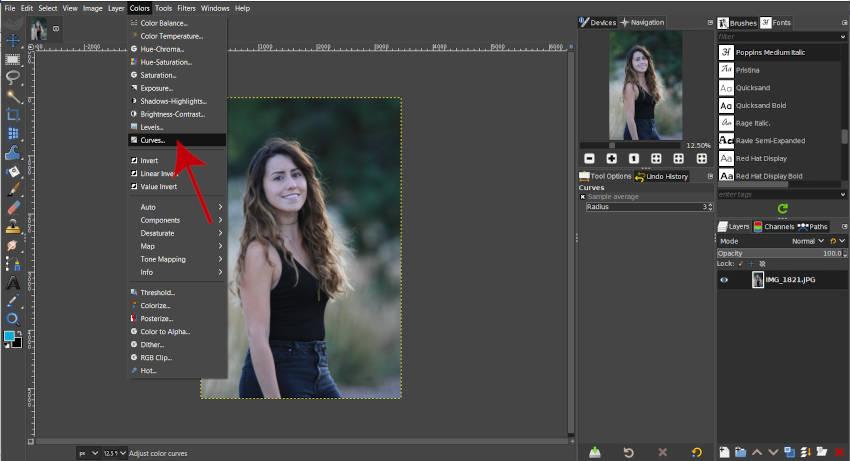 Toegang tot Curves Tool GIMP 2 10 2020