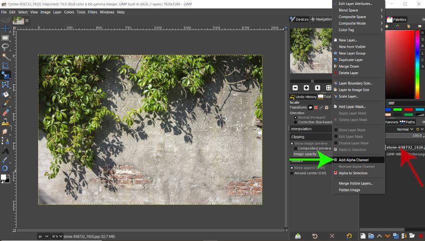 Přidejte Alpha Channel GIMP 2 10 18 Color do Alpha