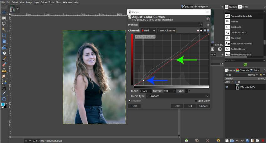 Knopen toevoegen aan GIMP Curve-zelfstudie