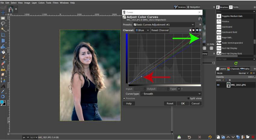 Blue Curve aanpassen GIMP-bewerkingshandleiding
