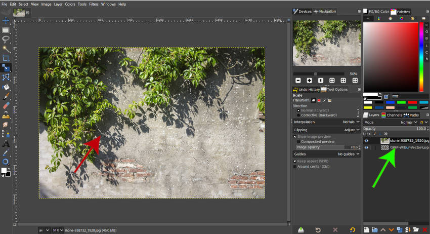 Alt Kliknutím vyberte Alpha GIMP 2 10 18