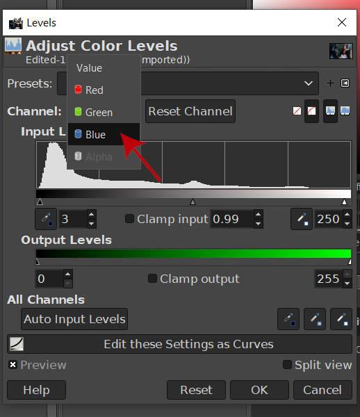 カラーチャンネルをブルーチャンネルGIMP 2020に変更