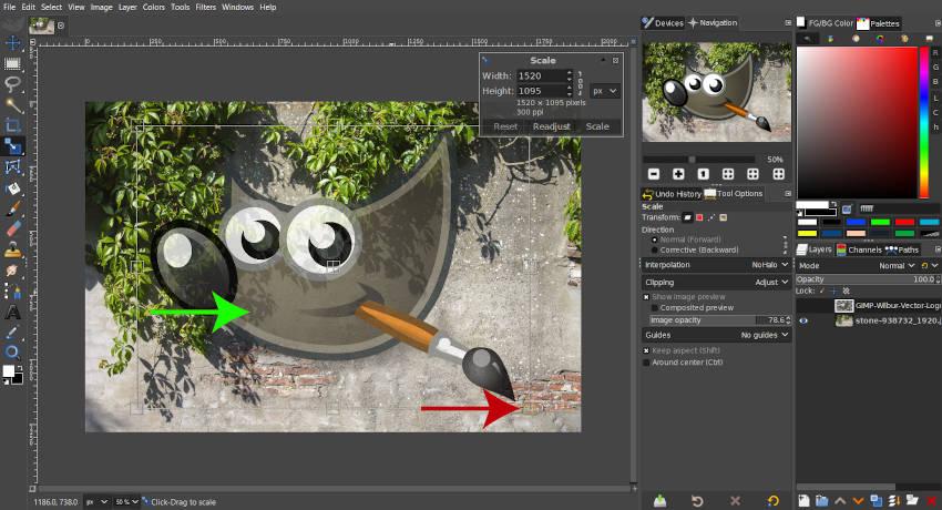 Výukový program Color to Alpha GIMP