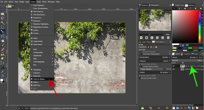 Barvy Color to Alpha GIMP 2 10 18 Filtr