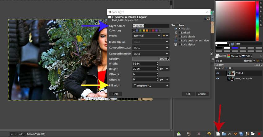 GIMPでビネット用の新しいレイヤーを作成する