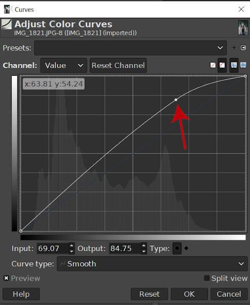 Een gebogen knooppunt maken GIMP 2020 Curves Tool
