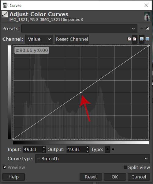 Een knooppunt GIMP 2020 Curves Tool maken