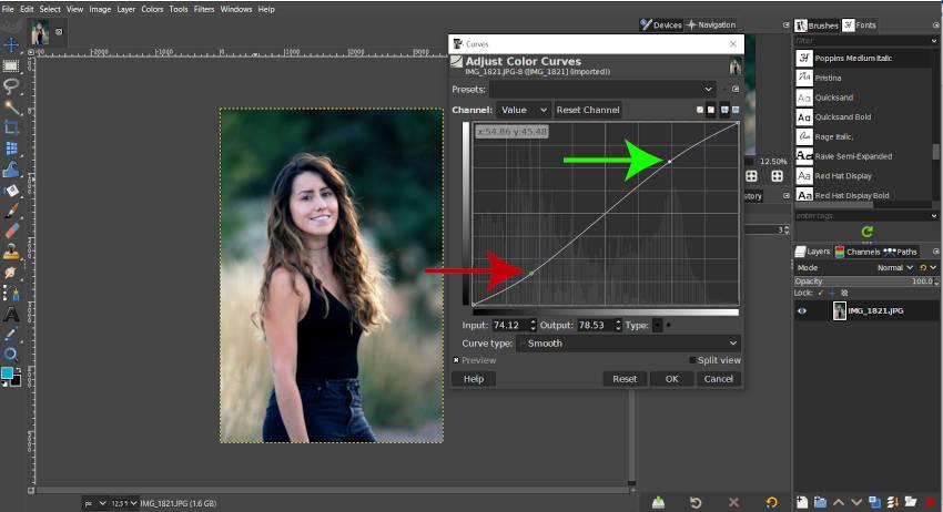 Een S-curve voor contrast maken in GIMP