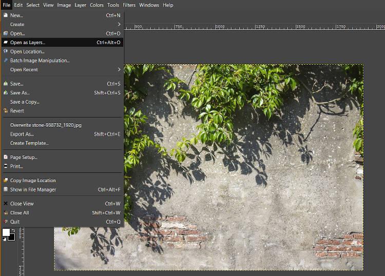 Soubor otevřený jako vrstvy GIMP Blend If Tutorial