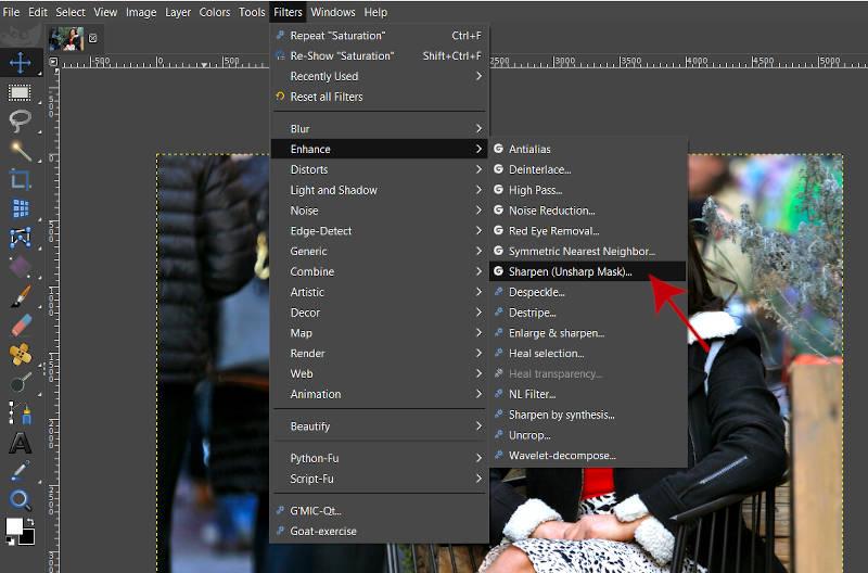 フィルターがGIMPのシャープなアンシャープマスク写真編集を強化