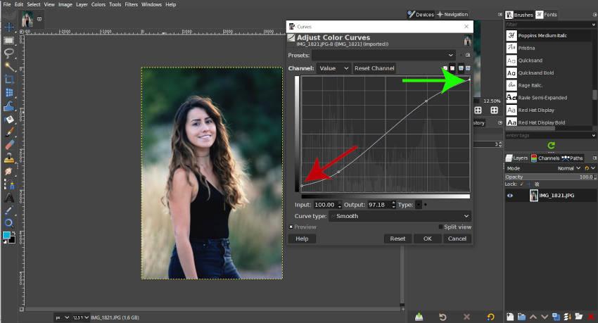 Afvlakkingscurve voor minder contrast GIMP
