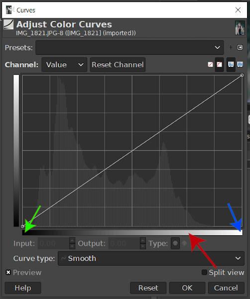 GIMP Curves Tool Input Bereik Gradient