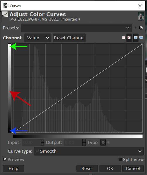 GIMP Curves Tool Uitgangsbereik Verloop